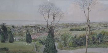 D Clack Porthcawl Watercolour Signed and dated 1982 Together with two tapestry pictures
