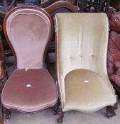 A Victorian walnut framed nursing chair,