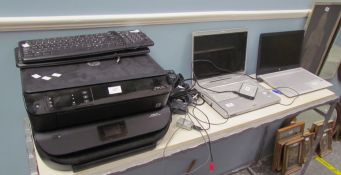 A HP Pavilion laptop together with another laptop, two printers, keyboards etc (All sold as seen,