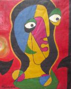 Svien Erik Thorsen (Norwegian 20th century) Abstract portrait Oil on canvas Signed Together with