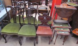 A set of four Edwardian mahogany salon chairs together with a Victorian mahogany salon chair,