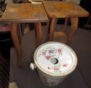 Two carved occasional tables with carved tops together with a pottery bucket with filter lid
