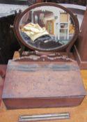An 18th century oak candle box,