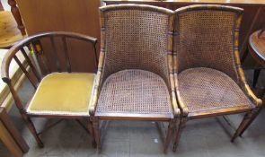 A pair of faux bamboo bergere elbow chairs together with an Art Nouveau inspired corner chair