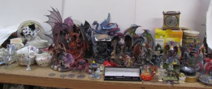 A collection of resin dragons, together with a Royal Vale part tea set, commemorative china,