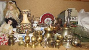 Modern collectors dolls together with a Tunisian vase, brass wares, decanter,