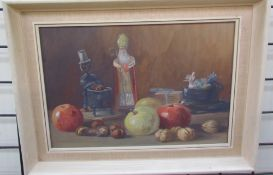20th century British school Still life study of figures and fruit Watercolour Together with a large