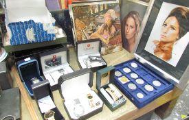 A signed Barbra Streisand photo, Barbra Streisand albums, four chess sets, coins,