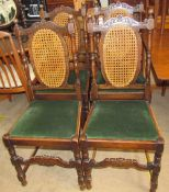 A set of four oak and caned dining chairs with a drop in seat together with an oak bookcase and an