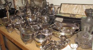 An electroplated Kings pattern part flatware service together with other electroplated flatwares,