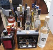 Assorted bottles of alcohol including Baileys, Grappa, Famous Grouse,