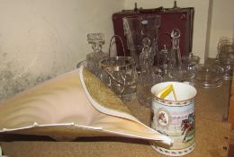 A large Italian glass shell shaped dish together with a crystal glass vase, glass sundae dishes,