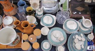 A Ridgway part tea and dinner set together with a Welsh Bible, Portmeirion storage jars,