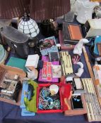Assorted costume jewellery together with a miniature sewing machine, table lamps,