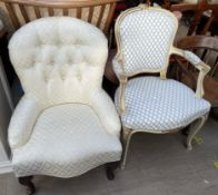A Victorian style button back upholstered nursing chair together with a continental upholstered