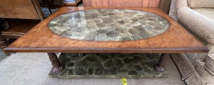 A 20th century walnut and reconstituted stone coffee table,