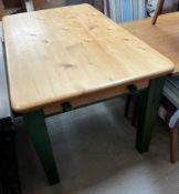 A 20th century pine kitchen table,