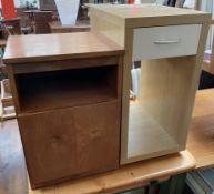 A Meredew teak bedside cabinet together with a modern side cabinet