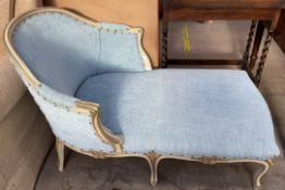 A continental cream gilt and upholstered day bed,