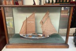 A cased ships model, of the Penzance 104,