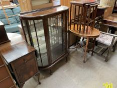 A 20th century mahogany display cabinet together with a bedside cabinet, nest of three tables,