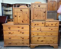 A pine chest of drawers together with another pine chests of drawers and a pair of pine bedside