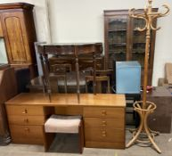 A modern dressing table and stool together with a mahogany side table and a bentwood hat and coat