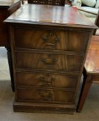 A reproduction mahogany filing unit,