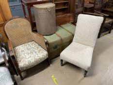 A beregere arm chair together with a Victorian upholstered nursing chair a loom laundry basket and