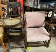 A metamorphic child's high chair together with an upholstered arm chair