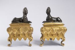 LOUIS XVI. ANDIRONS Second half of 18th century France Paris gilded bronze, bronze 23,5 x 15,5 x