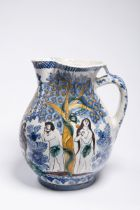 "JUG WITH ADAM AND EVE 1851 Slovakia Faience, varicoloured glaze 27 cm Signed: ""Šifer Juro 1851"""