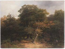 """JOSEF HOLZER 1824 - 1876: FOREST LANDSCAPE 1856 Oil on wood 28,5 x 38,5 cm Signed: Lower left """""""