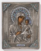 ICON - MARY OF KAZAN AND BABY JESUS 1890 Russia St. Petersburg Oil on wood, silver, cloisonné 23 x