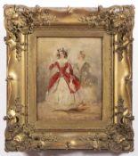 JOSEF NAVRÁTIL 1798 - 1865: TWO ACTRESSES Ca. 1850 Oil on cardboard 34 x 27 cm Josef Matěj