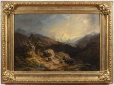 BEDŘICH (FRIEDRICH) WACHSMANN 1820 - 1897: MOUNTAIN LANDSCAPE 1852 Munich Oil on canvas 68 x 101