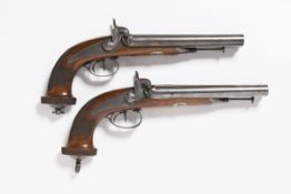 PAIRED TWO SHOT PERCUSSION PISTOLS Around the mid-19th century Central Europe Steel, walnut wood