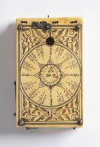 LEONHART MILLER: TABLET SUNDIAL 1652 Nuremberg Ivory, brass 9,5 x 6 cm Signed: Inside on the