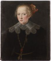 UNKNOWN AUTHOR: A GIRL'S PORTRAIT First half of 17th century Germany Oil on canvas 61,5 x 51 cm