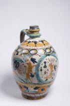 JUG OF A GUILD 1840 Sobotiště, Slovensko Faience, varicoloured glaze 36 cm Guild post-haban