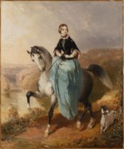 KARL PAVLOVIČ BRIULLOV 1799 - 1852: HORSEWOMAN WITH A DOG Ca. 1850 Oil on canvas 61 x 51 cm