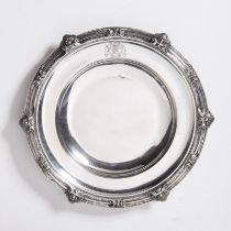 """SILVER PLATE WITH A ROTHSCHILD COAT OF ARMS 1840 - 1879 Silver ⌀28.5 cm, 577 g Signed: Hallmarked """""""