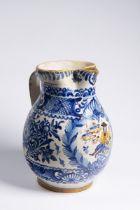 JUG OF A WEAVERS' GUILD 1856 Faience, varicoloured glaze 28 cm Posthaban jug with rich cobalt