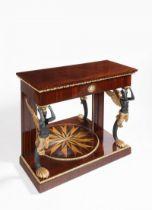 EMPIRE STYLE CONSOLE TABLE Kolem 1810 Mahogany, walnut, maple, gilded bronze 85 x 95 x 42 cm With