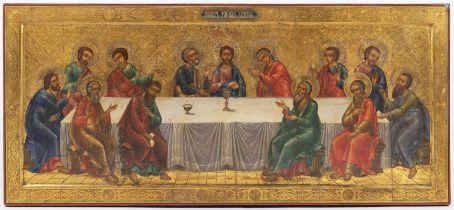 ICON - THE LAST SUPPER Ca. 1900 Russia Oil, wood, gilding 53 x 116,5 cm Traditional church theme