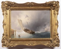LUIGI RICCARDI 1808 - 1877: SHIPS IN WAVES Ca. 1850 Oil on cardboard 28 x 39,5 cm Signed: Lower
