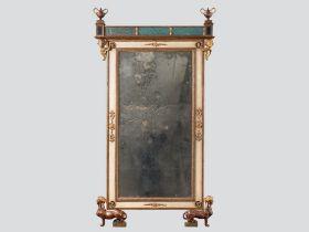 EMPIRE STYLE MIRROR Kolem 1800 glass, gilded wood, underpainting on glass 177 x 96 cm A rare Italian