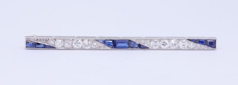 ART-DECO SAPPHIRE AND DIAMOND BAR BROOCH