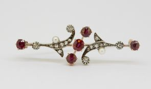 ANTIQUE RUBY DIAMOND AND PEARL BROOCH