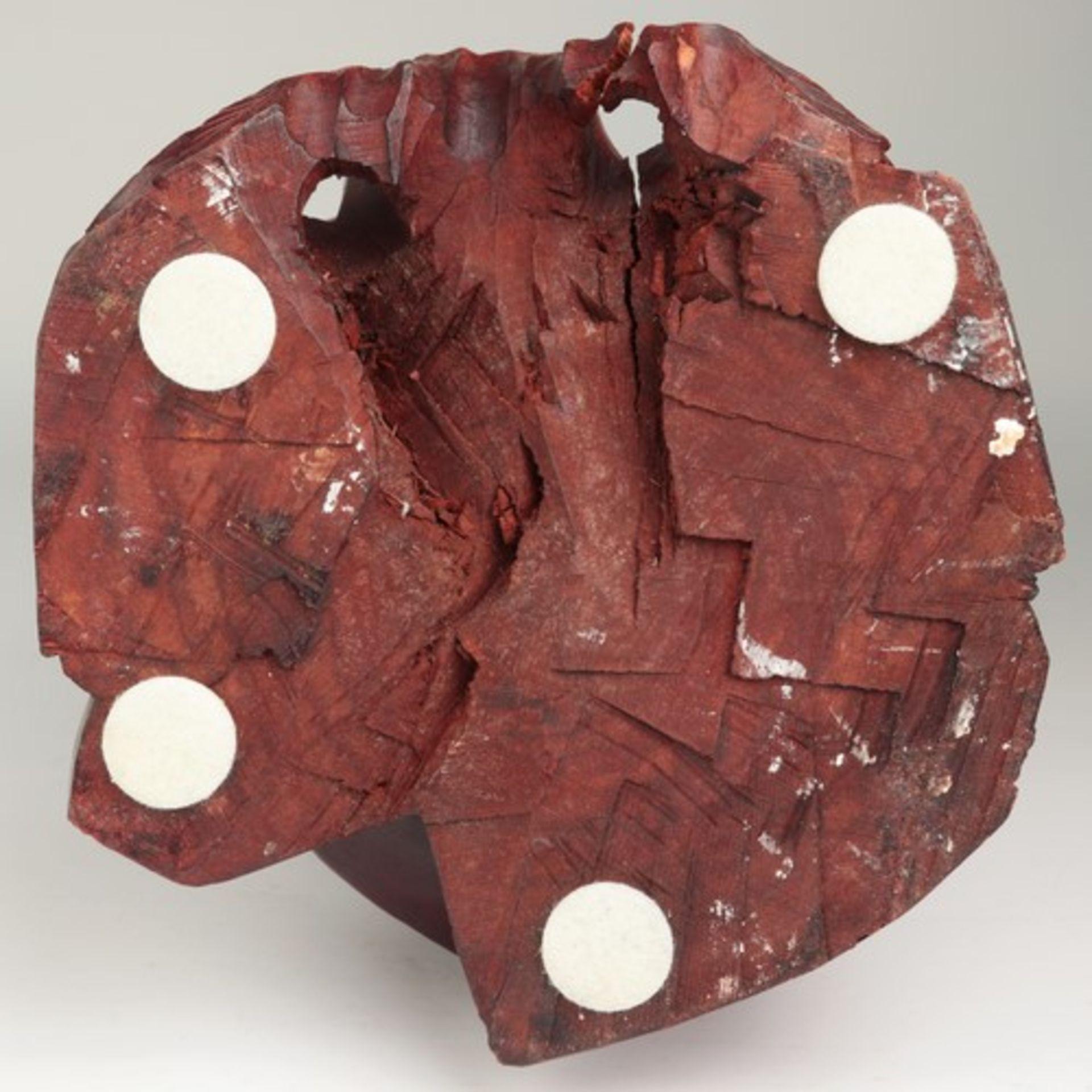 Holzfigur - China20.Jh., vollplastische Holzschnitzerei, Hartholz, Glasaugen, Fischer m. zwei - Bild 7 aus 8